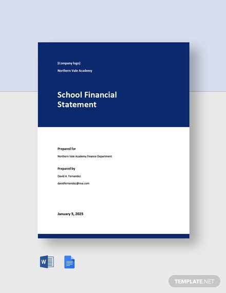 School Financial Statement Template