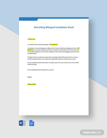 Recruiting Bilingual Candidates Email Template