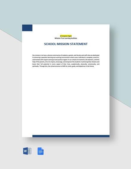 School Mission Statement Template