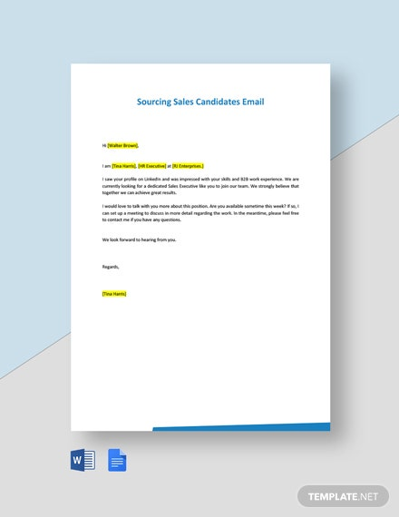 Sourcing Sales Candidates Email Template
