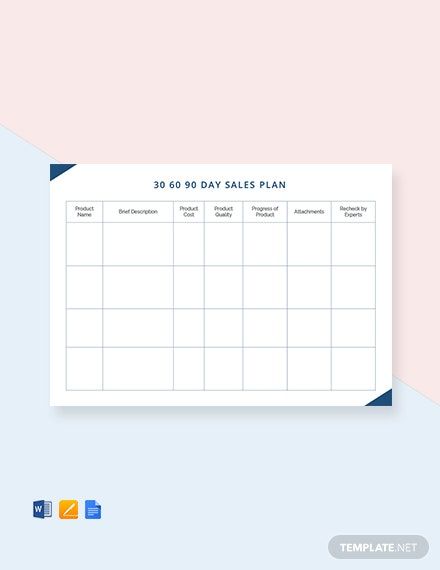 Free 30 60 90 Day Sales Plan Template
