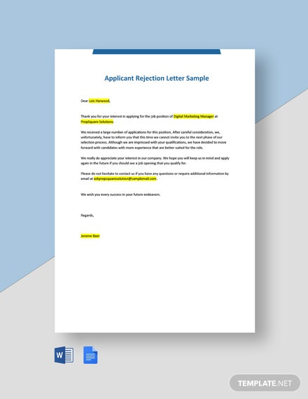Applicant Rejection Letter Sample Template
