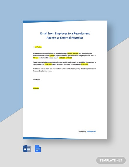 Free Email from Employer to a Recruitment Agency or External Recruiter Template