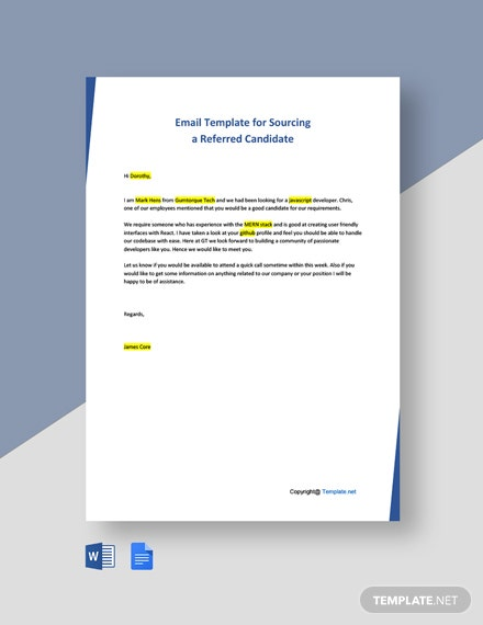 Free Email Template for Sourcing a Referred Candidate Template