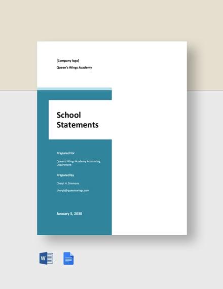 Free Sample School Statement Template