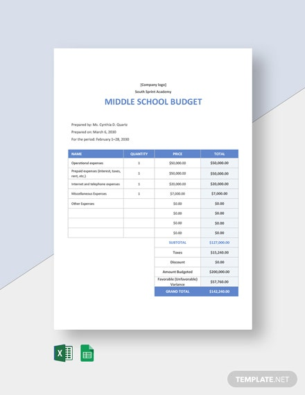 Middle School Budget Template