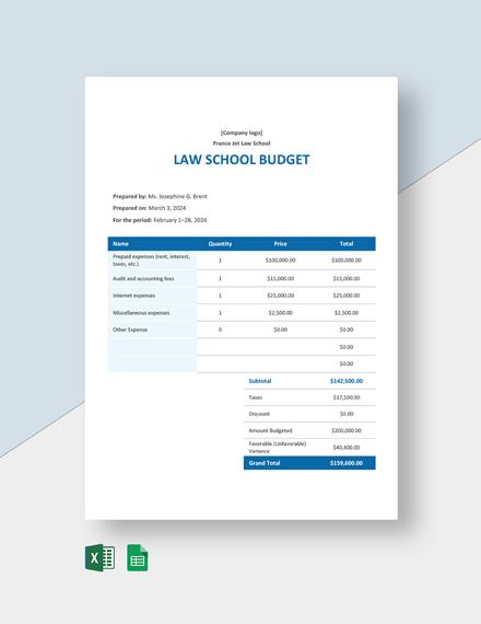 Law School Budget Template