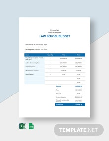 Law School Budget Template
