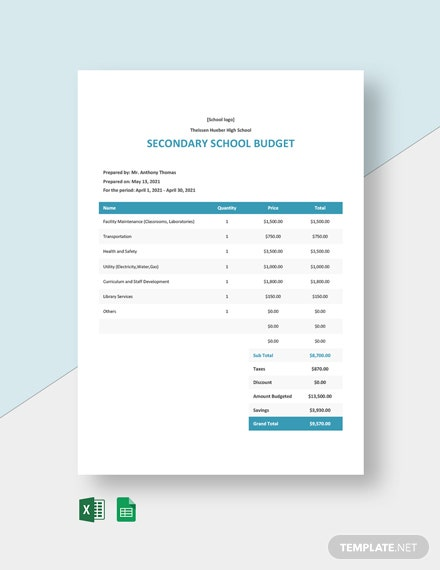 Secondary School Budget Template
