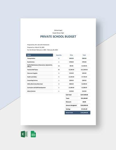 Private School Budget Template