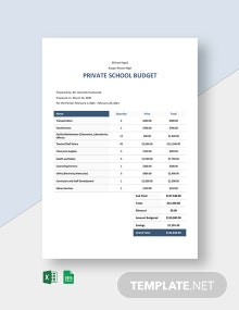 Private School Budget Template
