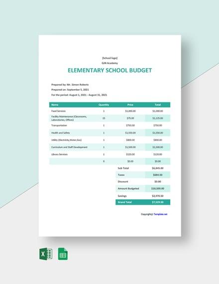 Free Sample Elementary School Budget Template