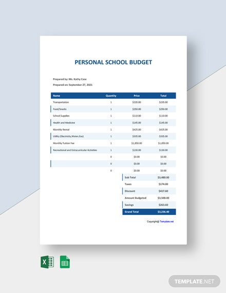 Free Simple School Budget Template