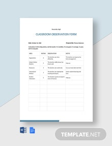 Classroom Observation Form Template