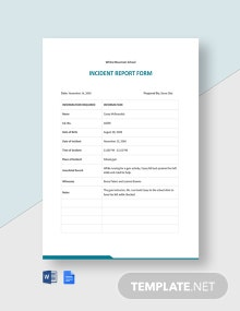 School Incident Report Form Template