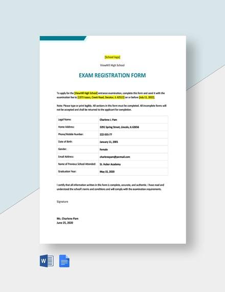 Exam Registration Form Template