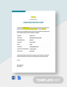 Exam Registration Form Template