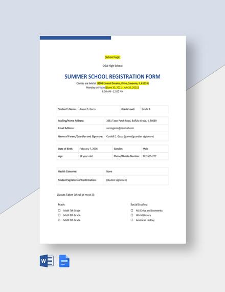 Summer School Registration Form Template