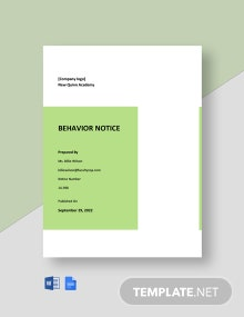 Behavior Notice Template