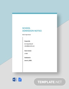 School Admission Notice Template