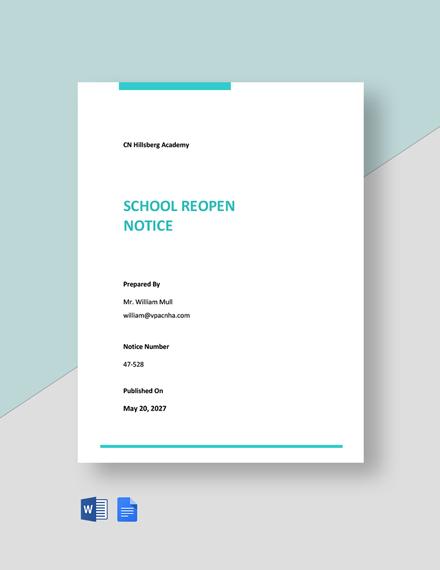 School Reopen Notice Template