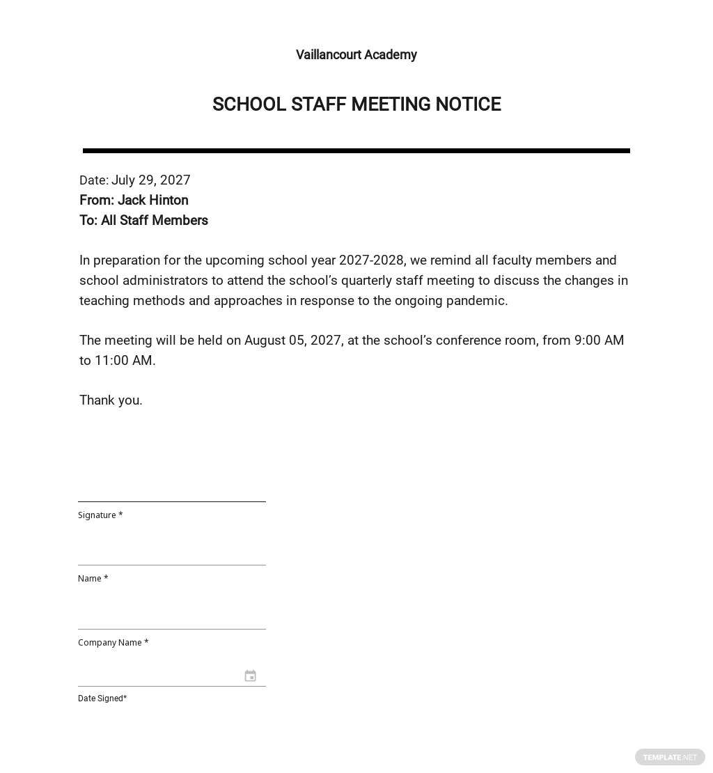School Staff Meeting Notice Template