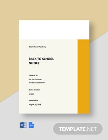 Back to School Notice Template