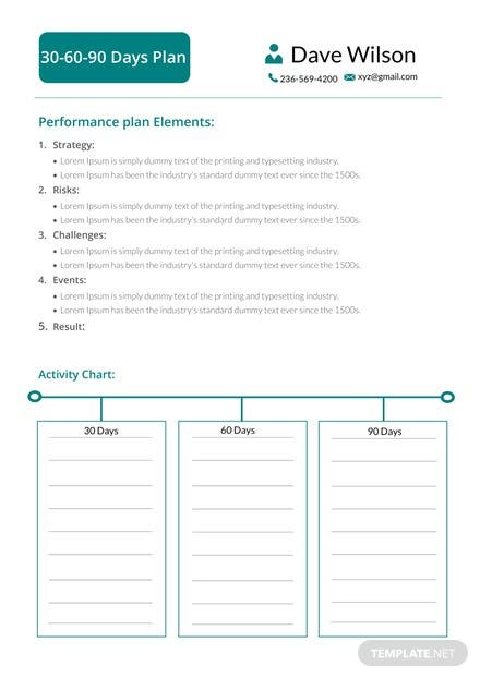 30 60 90 Days Plan Template