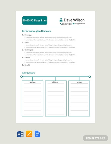 Free 30 60 90 Days Plan Template