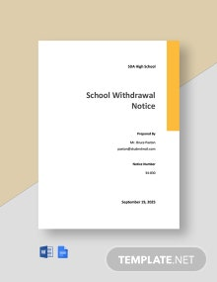 School Withdrawal Notice Template