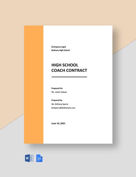 High School Coach Contract Template