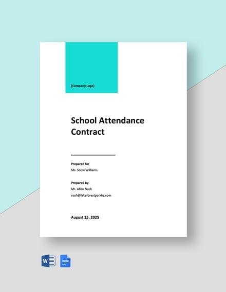 School Attendance Contract Template
