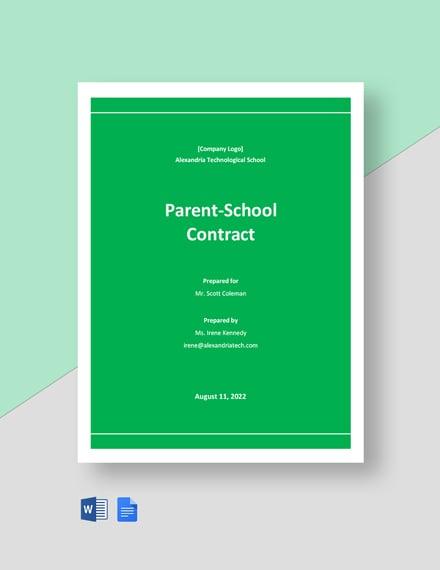 Parent School Contract Template