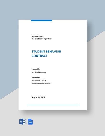 Student Behavior Contract Template