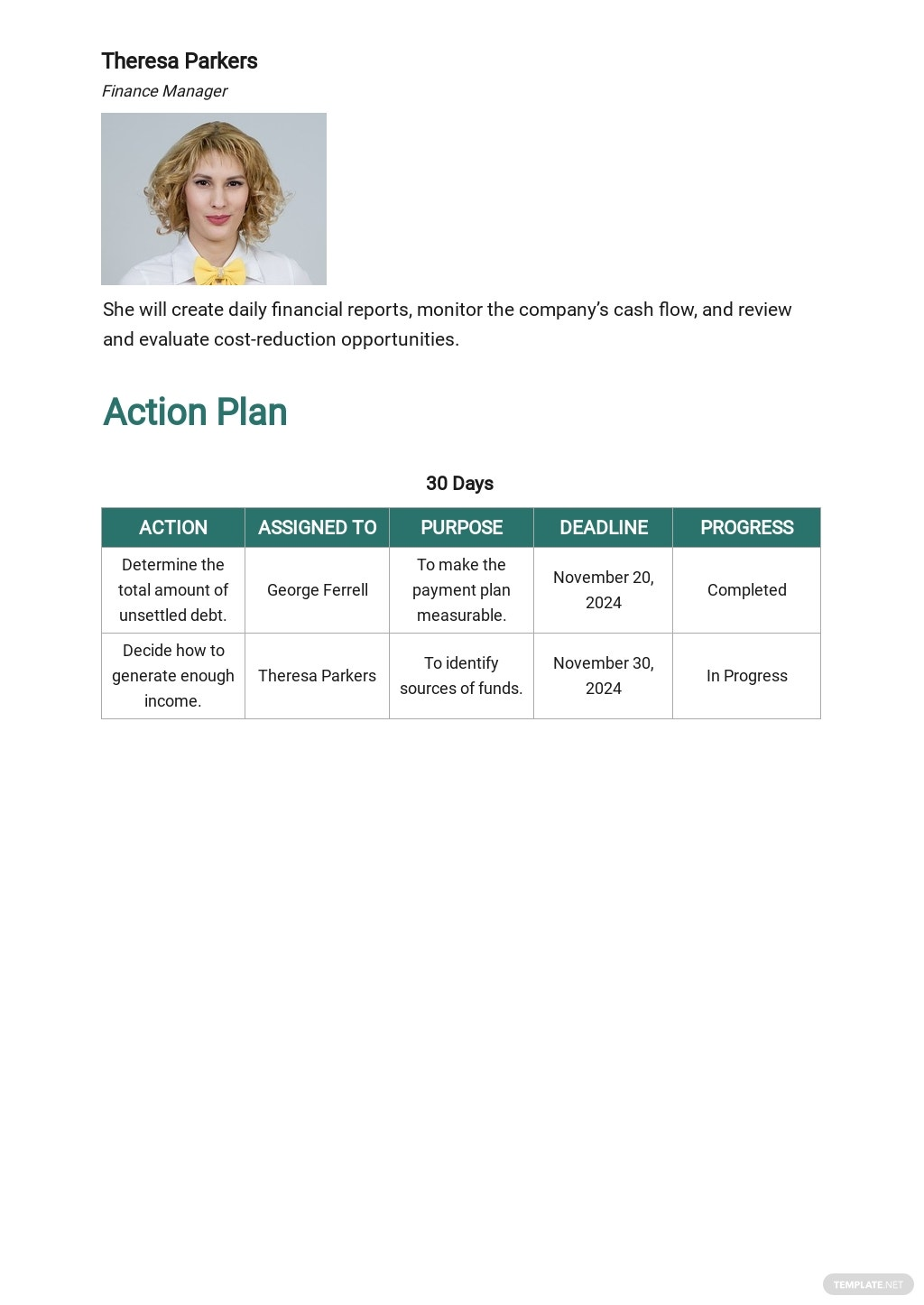 Free 30 60 90 Payment Plan Template 2.jpe
