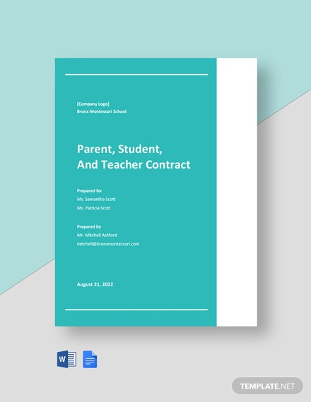 Parent Student and Teacher Contract Template