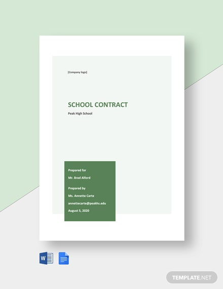 Free Sample School Contract Template