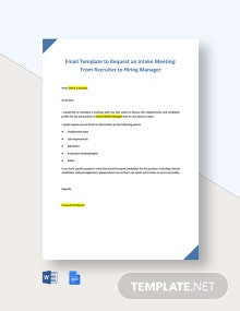 Email Template to Request an Intake Meeting From Recruiter to Hiring Manager Template