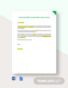 Formal Job Offer - Sample Offer Letter Format Template