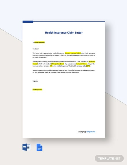 FREE Health Insurance Claim Letter - Word | Google Docs