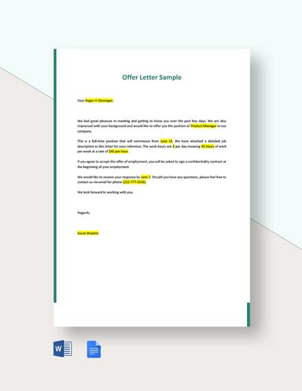 Offer Letter Sample Template