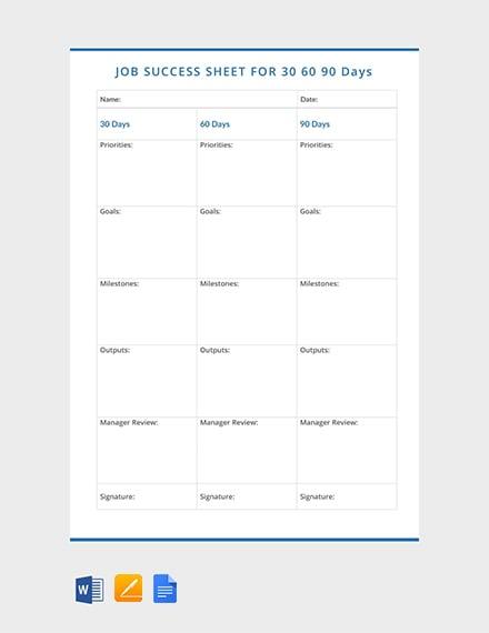 Free 30 60 90 Day Job Success Sheet