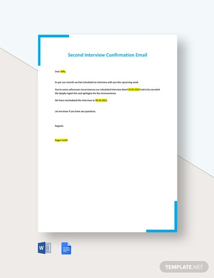 Second Interview Confirmation Email Template