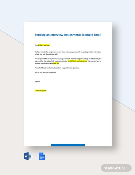 Sending an Interview Assignment Example Email Template