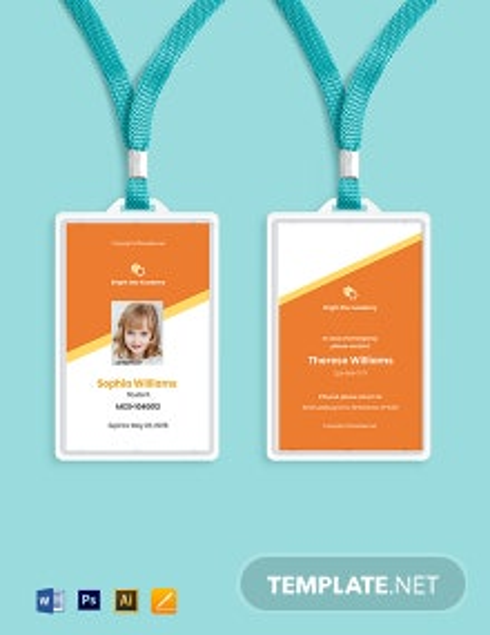 Free Vertical School ID Card Template