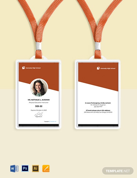 Free Modern School ID Card Template