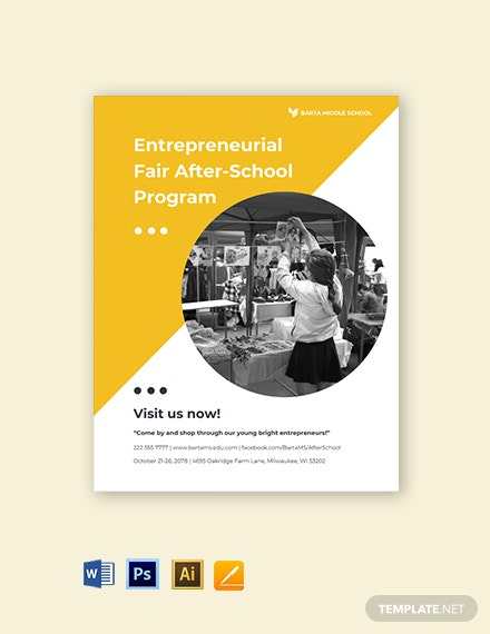 After School Program Flyer Template  - Illustrator, Word, Apple Pages, PSD