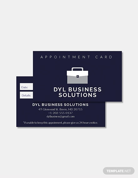 Free Appointment Card Template