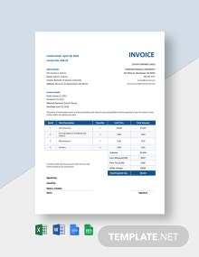 Nursing School Invoice Template