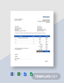 School Tuition Invoice Template